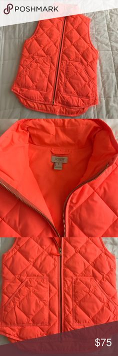 🚫SOLD🚫BN JCrew Puffy Vest S This is for a BNWOT JCrew size Small puffy vest in a fluorescent orange. I took the tags off in anticipation of wearing it and never did. The color is great for spring! Feel free to make an offer 😊 J. Crew Jackets & Coats Vests