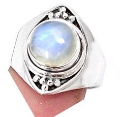 Like a Full Moon This Is a Magnificent Genuine White-Bluish MOONSTONE Round Gemstone, 925 Sterling Silver Statement Jewellery Ring by Ameogem on Etsy Fertility Crystals, Black Moonstone, Mocha Brown, Moonstone Necklace, Full Moon, Statement Jewelry, Engagement Rings, Gemstones, Sterling Silver