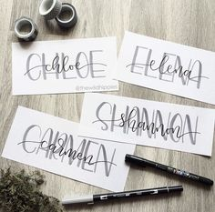 Nice idea of not aligning the more flowy calligraphy name letters against the capital background ones - might give it a try Hand Lettering Tutorial, Hand Lettering Fonts, Calligraphy Handwriting, Creative Lettering, Lettering Styles, Calligraphy Letters, Brush Lettering, Modern Calligraphy, Lettering Design