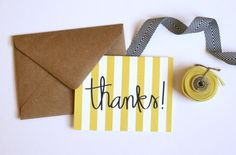 Bold Stripe Thank You Card by PuddleduckPaperCo on Etsy, $4.00