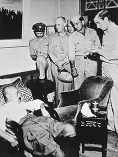 General Hideki Tojo of the former Imperial Japanese Army and prime miniter of Japan seen slumped in a chair after attempting to shoot himself on September He was revived, tried, convicted of war crimes and hanged on December Hideki Tojo, Hiroshima, Nagasaki, War Photography, People Photography, Historical Pictures, Ww2 Pictures, Iwo Jima, Vietnam War