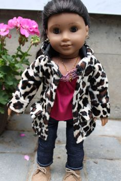 American Girl Doll Clothes Coat in Leopard Faux by HopscotchSundae,