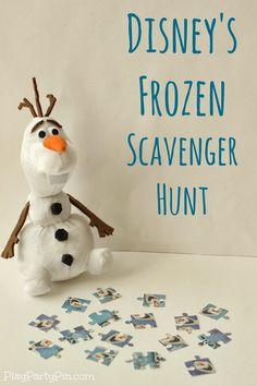 Disney's FROZEN scavenger hunt for kids, perfect for a FROZEN party #FrozenFun #shop #cbias