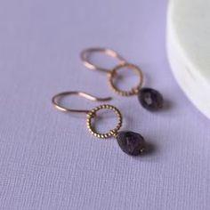 Amethyst and Rose Gold Drop Earrings - handmade beaded earrings