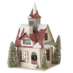 Putz Paper Christmas House shelley b home and vacation - Christmas Home Decorations Christmas Village Houses, Putz Houses, Christmas Villages, Clay Houses, Gingerbread Houses, Noel Christmas, Christmas Paper, Christmas Crafts, Christmas Ornaments