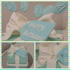 Tiffany Box 21st Birthday Cake - Square cake covered with light blue fondant in a way that looks like a Tiffany Box, topped off with a white bow. The balloons on the wires and the tag are made of fondant, the writing piped with royal icing.