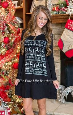 The Night Before Christmas Reindeer Tunic Black - The Pink Lily Boutique