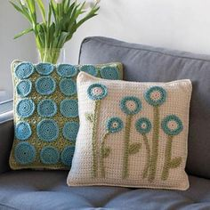 Ravelry: Fresh Picked Pillows pattern by Katherine Eng. Pattern published in Crochet Today! March/April 2011.