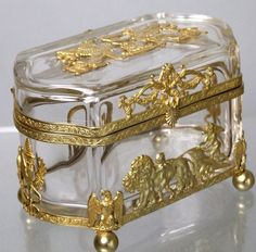 Exquisite Antique French Empire Dore Bronze Crystal Casket from decorantiquaire on Ruby Lane