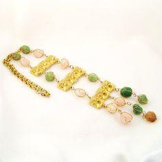 CLEARANCE Vintage Jade Runway Necklace Designer Vrba CastleCliff  Tribal via Etsy