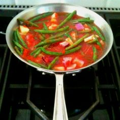 String beans in tomato sauce