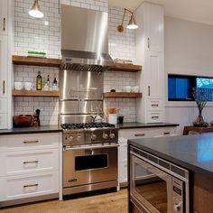 White Subway Tile, Dark Grout, Natural Shelves, Lighting