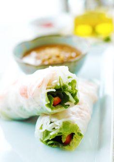Vietnamese Spring Rolls with Hoisin Peanut Sauce