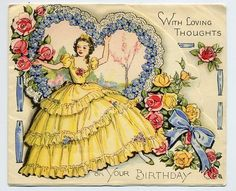 Sell one like this  ART DECO CRINOLINE LADY & FLOWERS VINTAGE GREETING CARD