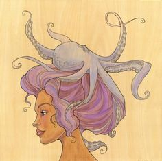 """The Octopus Mermaid 4"" by Karen Hallion Illustrations. Love it! Reminds me of Audrey Kawasaki's work."