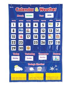 Calendar & Weather Pocket Chart #zulily #zulilyfinds