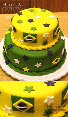 Bolo Brasil Brazilian Dessert, Brazil Party, Bolo Fake Eva, Maria Clara, Foreign Exchange, Partys, Cake Decorating, Birthday, Desserts