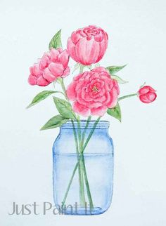 This tutorial shows how to use acrylic paints and create a watercolor effect on peonies and mason jars. Lots of tips and ideas.