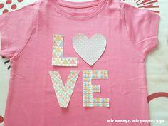 mis nancys, mis peques y yo, tutorial aplique en camiseta love, colocar piezas