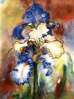iris watercolor print  yellow purple iris by AlisaPaints on Etsy, $48.00