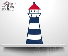 Lighthouse Wall Decal, nautical sailor ship with wall decal for baby boy nursery room, red, navy, nautical decal. SKU07 on Etsy, $14.00