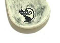 Ceramic Spoon Rest / Trinket Dish  Cheshire Cat by IrihanaArts