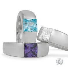 Square Channel Set Ring - This chic and modern ring features a stunningly simple high intensity cubic stone in a sleek sterling silver setting.  Available in classic cubic (transparent sparkling), blue topaz cubic (sky blue), or amethyst cubic (violet). #bluetopaz #topaz #bluegemstones #decemberbirthstone #birthstones #gems #gemstones #silverjewelry #sterlingsilver