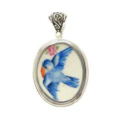 Broken China Jewelry Vintage Blue Bird Bluebird w Pink Flowers Oval St – Vintage Belle Broken China Jewelry