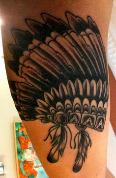 Native American Indian Sioux Headdress --- Wanting to add this to my Tigger tattoo that is on the back of my right shoulder