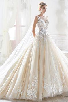 Fantastic Tulle Sheer Bateau Neckline A-line Wedding Dress With Lace Appliques & 3D Flowers