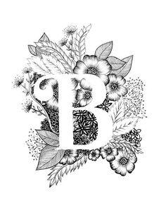 Letter B print - alfabet, kalligrafie, typografie, Monogram, bloemen - zwart-witte inkt kunst print