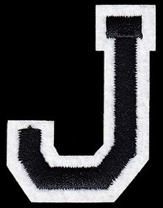 "[Single Count] Custom and Unique (2"" x 1 1/2"") College Letters J Iron On Embroidered Applique Patch {Black and White Colors} myLife Brand Products http://www.amazon.com/dp/B01184I8QO/ref=cm_sw_r_pi_dp_MYzPvb0YKG3KD"