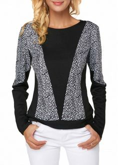 Liligal Women's Color Block T Shirt Black Round Neck Long Sleeve Printed Blouse Stylish Tops For Girls, Trendy Tops For Women, Blouses For Women, Ladies Blouses, Printed Blouse, Black Blouse, Dresses With Sleeves, Tunic Dresses, Long Sleeve