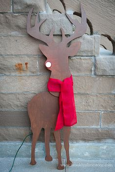 DIY Lighted Red Nosed Reindeer Silhouette