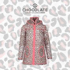 BILLIEBLUSH GIRLS LEOPARD PRINT HOODED RAINCOAT WITH PINK TRIMMING