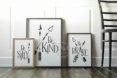 Nursery Arrow Wall Art,PRINTABLE Arrow Kids Wall Art, Woodland Nursery Prints, Childrens prints, Baby Shower Gift, Arrow Wall Art, Be Kind