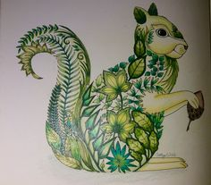 Green squirrel, Enchanted Forest, Johanna Basford. cathyc. pencil crayons.