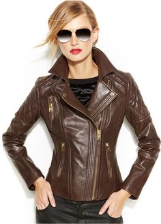 MICHAEL Michael Kors Leather Moto Jacket on shopstyle.com