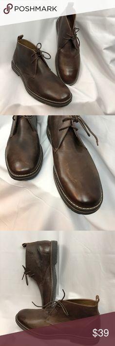 GBX sz12 brown leather Chukka boots... Excellent used condition GBX sz12 brown leather Chukka boots...leather has a burnished worn look...these were worn once and never worn outside...leather has a few marks from being in closet w/other shoes-does not affect wear-looks like part of the look... GBX Shoes Chukka Boots