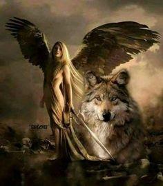 Native Indian Women Wolf Outdoor Bow Hunting Wilderness Mystic Guns Art Plaque