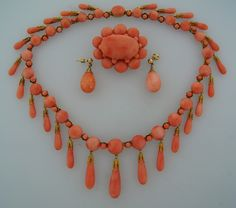 Victorian c1900 Coral and Yellow Gold Necklace Earrings Pin / Brooch ...