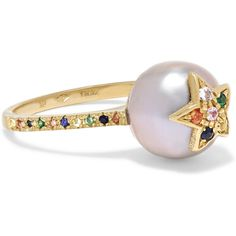 Carolina Bucci Summer Star 18-karat gold, sapphire and pearl ring ($1,645) ❤ liked on Polyvore featuring jewelry, rings, multicolor ring, 18k ring, tri color ring, star sapphire jewelry and star ring