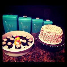 baby shower cake + cupcakes