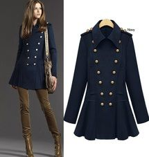 Navy Long Sleeve Wool Double Breasted Celebrity Shoulder Pleated Coat
