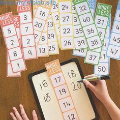 One More, One Less, Ten More, Ten Less Number Cards – you clever monkey - Mathe Ideen 2020 Numeracy Activities, Kindergarten Activities, Teaching Math, Kindergarten Preparation, Number Sense Activities, Number Sense Kindergarten, 1 More 1 Less Activities, Skip Counting Activities, 1st Grade Math Games