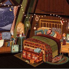 🍀Illustration by *************** Beautiful Dream, Cozy Place, Design Your Home, Children's Book Illustration, Best Artist, Paper Art, Instagram, Artwork, Interior Sketch