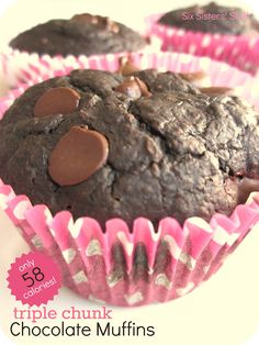 Triple Chunk Chocolate Muffins from sixsistersstuff.com.  Only 58 calories per muffin and SO DELICIOUS! #recipe #muffins #lowfat