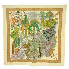 "HERMES 1998 Ivory ""Les Legendes de L'Arbre"" Silk Scarf 90 cm 
