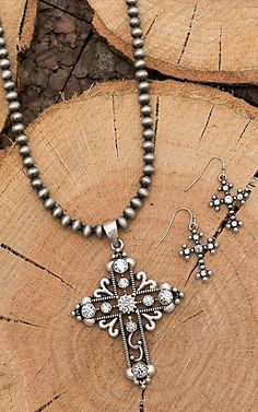 Isaac Silver Beaded with Cross Pendant Jewelry Set | Cavender's