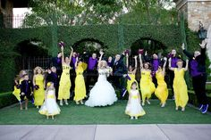 Bright yellow bridesmaid dresses with groomsmen in purple vests and ties | villasiena.cc